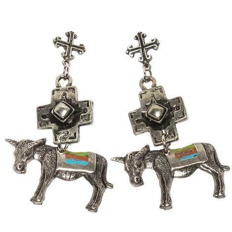 Silver Serape Burros Cross Earrings