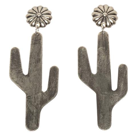 Silver Cactus on Round Fluted Concho Earrings