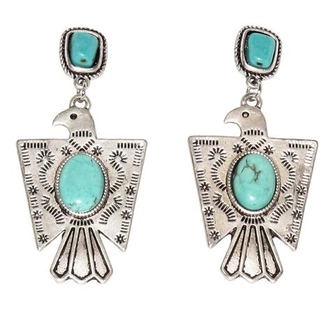 Silver and Turquoise Thunderbird Post Earrings