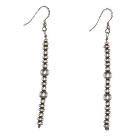 Silver Navajo Pearl Single Strand Dangle Earrings