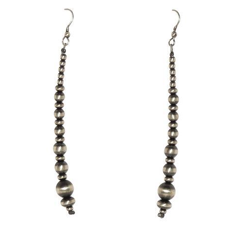 Silver Navajo Pearl 3 Inch Strand Earrings