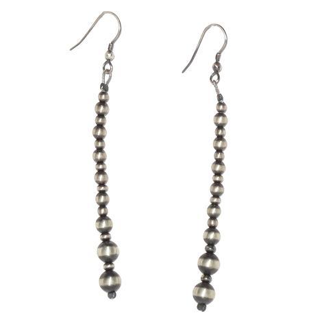 Silver 3 Inch Navajo Pearl Dangle Earrings