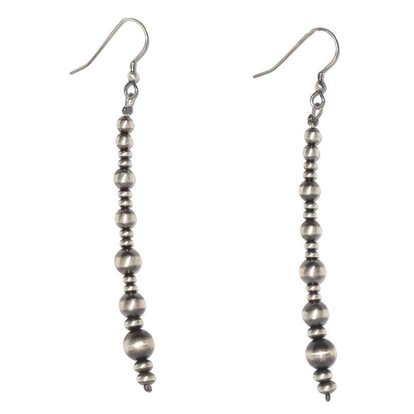 Silver Navajo 3 Inch Pearl Dangle Earrings