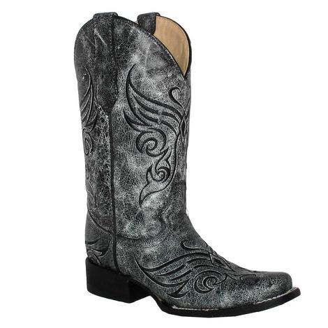 Circle G Womens Black Crackle Square Toe Boots