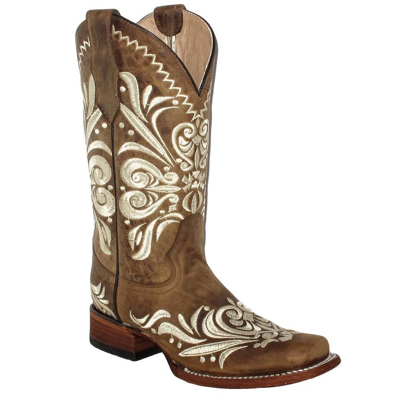 Corral Womens Tan Embroidery Square Toe Boots