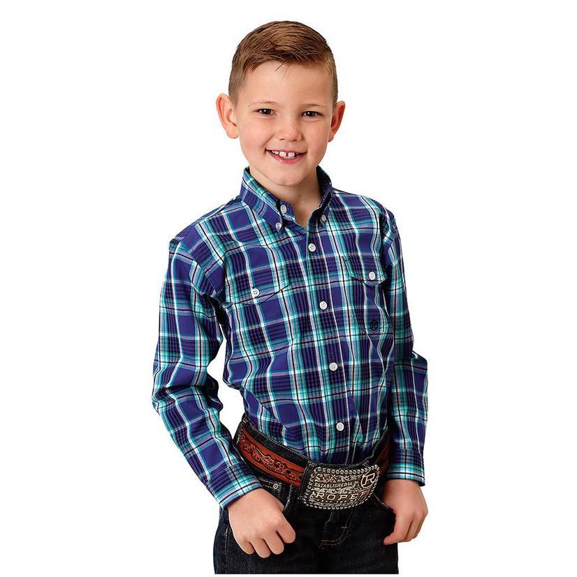 Roper Purple Green Long Sleeve Boy's Buttondown Shirt