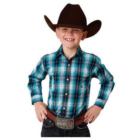 Roper Teal Navy Long Sleeve Boy's Snap Shirt