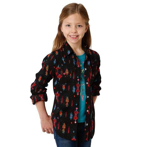 Roper Black Tribal Print Long Sleeve Girl's Snap Shirt