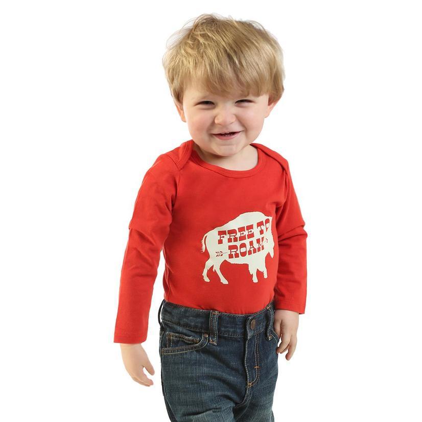 Wrangler Infant Boy's Free To Roam Red Bodysuit