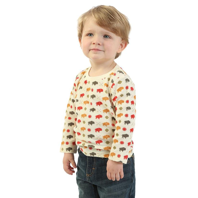 Wrangler Boy's Buffalo Print Infant Long Sleeve Thermal Shirt