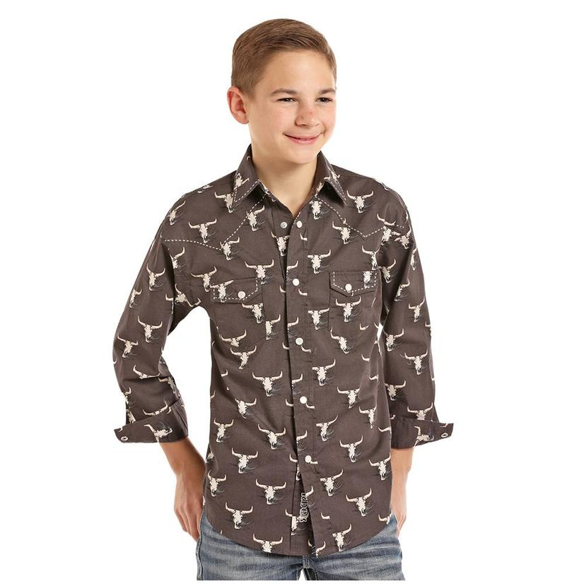 Rock And Roll Cowboy Steer Head Long Sleeve Boy's Shirt