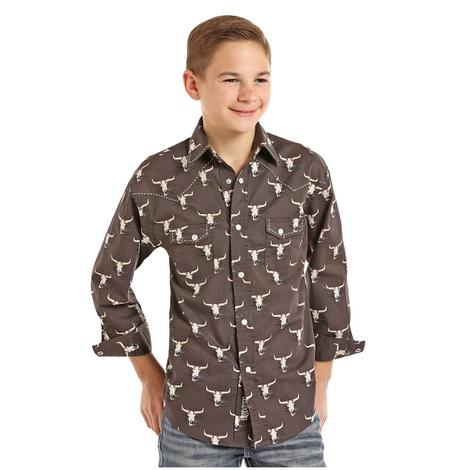 Rock and Roll Cowboy Steer Head Long Sleeve Boy's Shirt