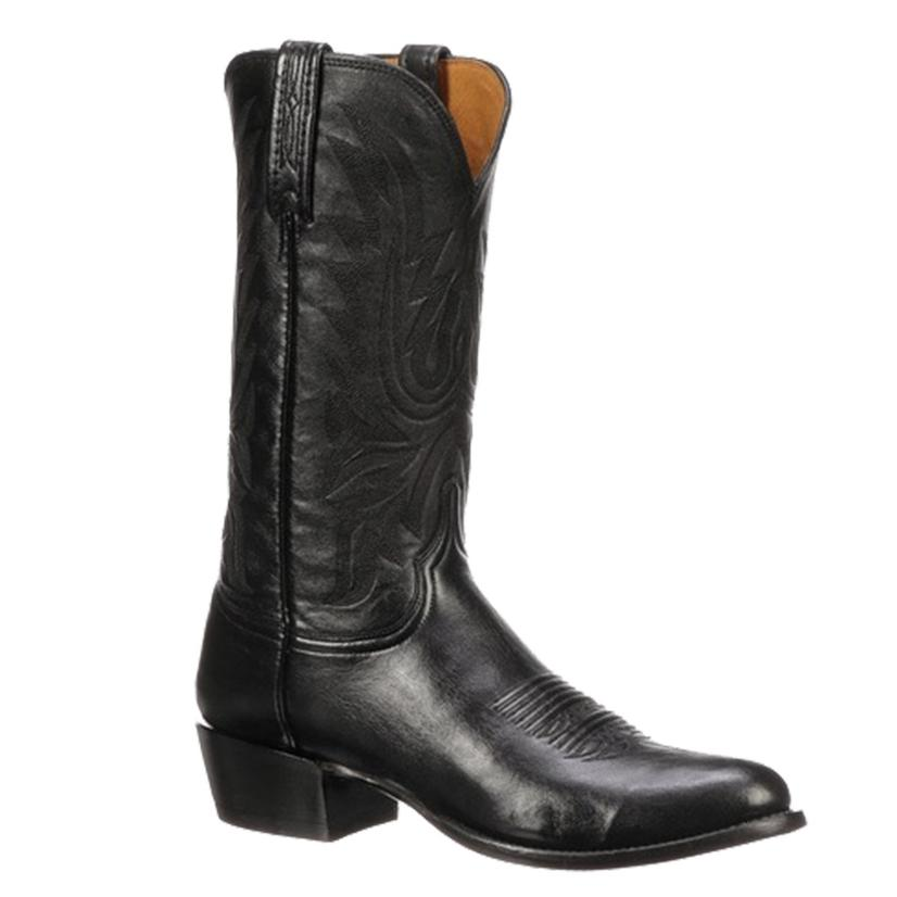 Lucchese Mens Carson Black Lonestar Calf Round Toe Boot