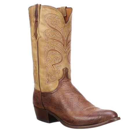 Lucchese Mens Nathan Brown Burn Jersey Round Toe Boots