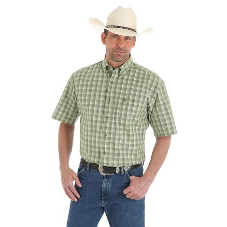Wrangler Mens George Strait Green Plaid Short Sleeve Shirt