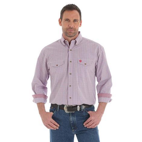 Wrangler Mens George Strait Red Purple Long Sleeve Button Down Shirt