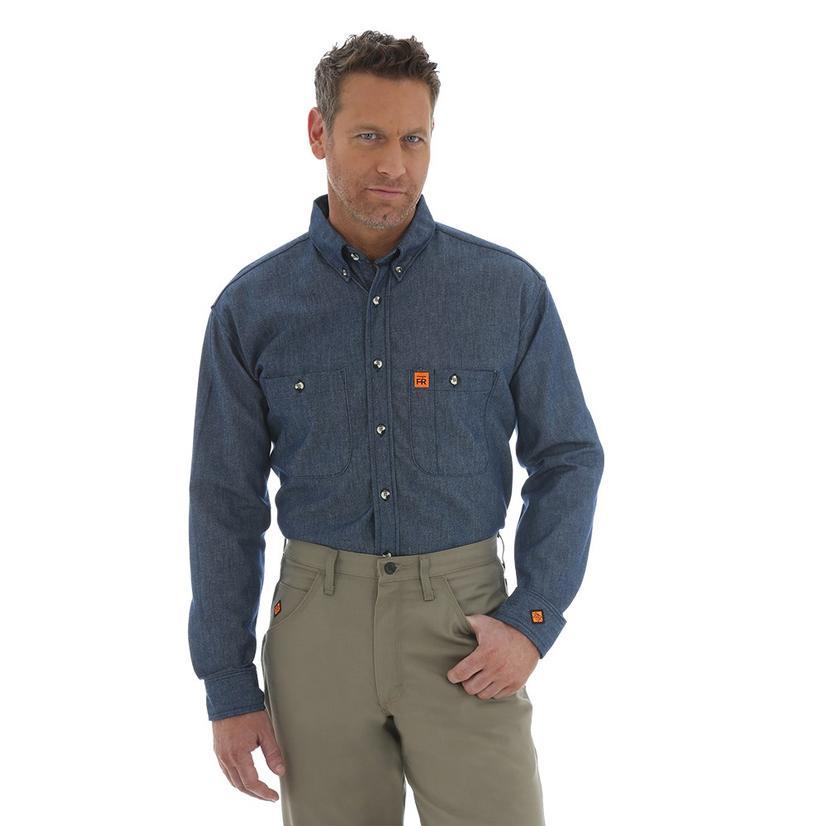 Wrangler Mens Flame Resistant Denim Long Sleeve Button Down Shirt