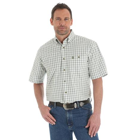 Wrangler Mens George Strait Green White Plaid Short Sleeve Shirt