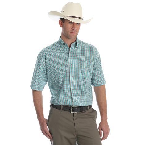 Wrangler Mens Wash and Wear Short Sleeve Assorted Plaid Shirt