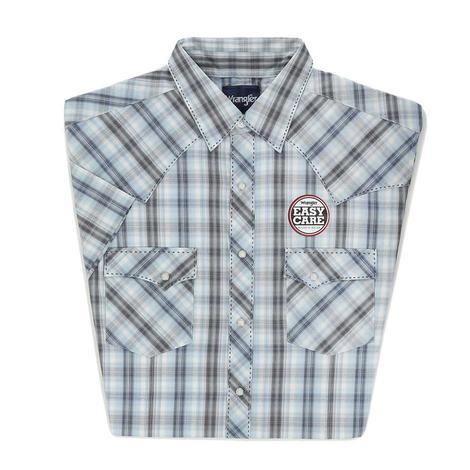 Wrangler Mens Easy Care Short Sleeve Plaid Snap Shirt