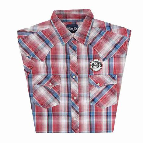 Wrangler Mens Easy Care Short Sleeve Red Navy Plaid Snap Shirt