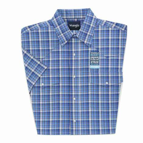 Wrangler Mens Wrinkle Resistant Blue Plaid Short Sleeve Shirt