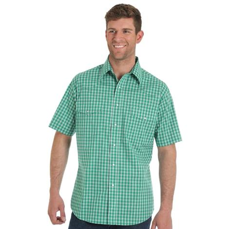 Wrangler Mens Wrinkle Resistant Green Plaid Short Sleeve Shirt