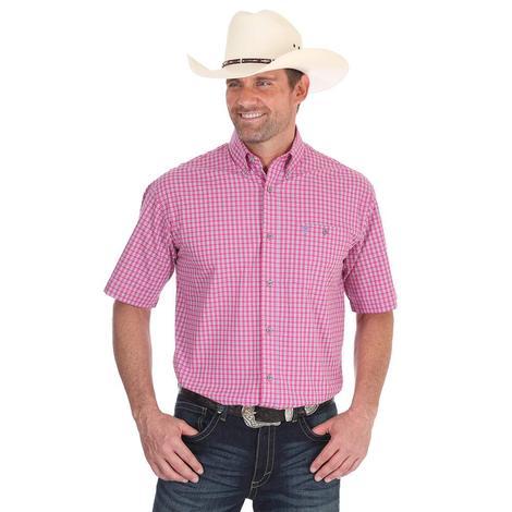 Wrangler Mens 20X Pink Plaid Short Sleeve Shirt
