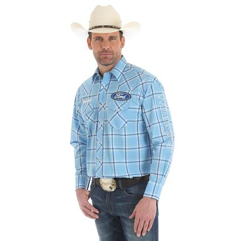 Wrangler Mens Ford Logo Blue Plaid Snap Shirt