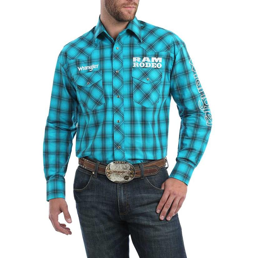 Wrangler Ram Rodeo Logo Blue Plaid Long Sleeve Men's Snap Shirt
