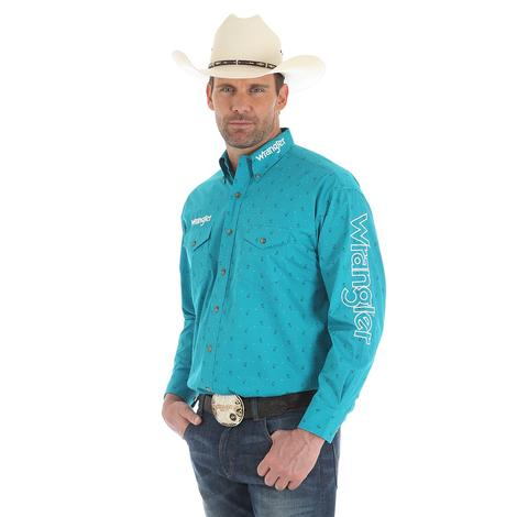 Wrangler Mens Logo Turquoise Long Sleeve Snap Shirt