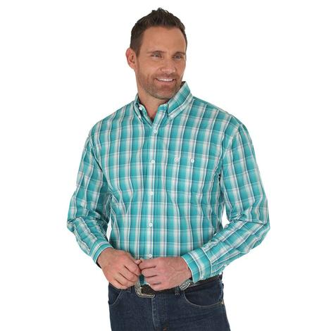 Wrangler Mens Turquoise White Plaid Classic Fit Long Sleeve Shirt