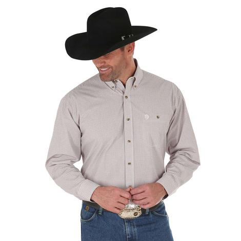 Wrangler Mens George Strait Brown White Long Sleeve Plaid Shirt