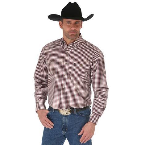 Wrangler Mens George Strait Brown Blue Plaid Button Down Long Sleeve Shirt