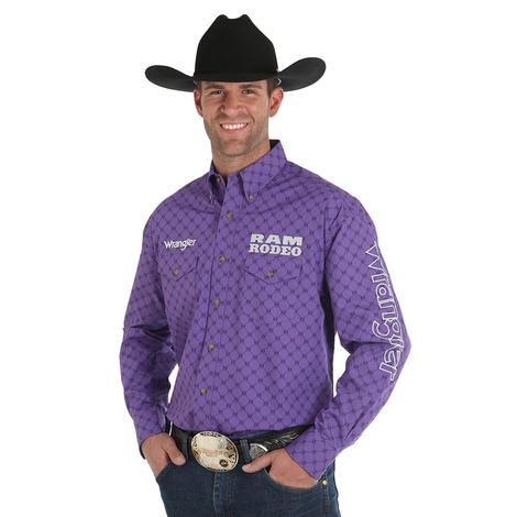 Wrangler Mens Purple Ram Rodeo Long Sleeve Button Down Shirt