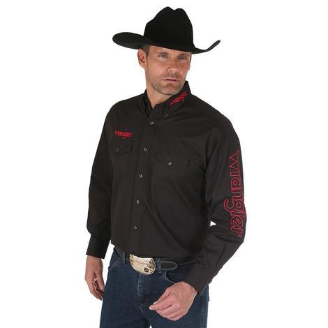 Wrangler Mens Black Red Long Sleeve Button Down Shirt