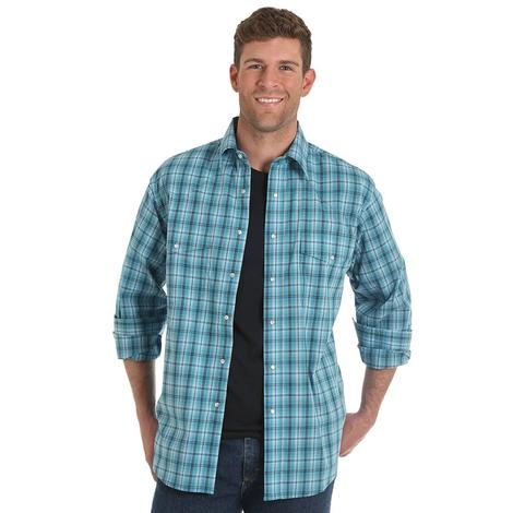 Wrangler Mens Blue Plaid Long Sleeve Relaxed Fit Snap Shirt
