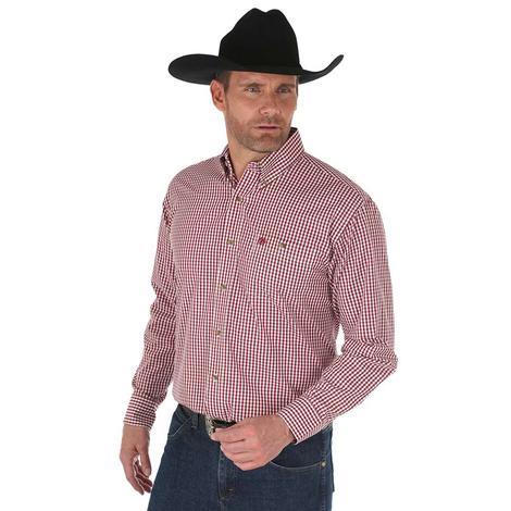 Wrangler Mens Burgundy White Plaid Long Sleeve Classic Fit Shirt