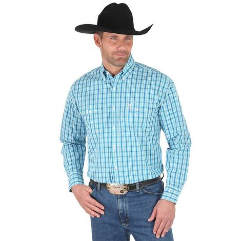 Wrangler Mens George Strait Teal White Plaid Long Sleeve Shirt