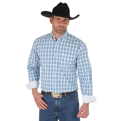 Wrangler Mens George Strait Blue White Plaid Long Sleeve Shirt