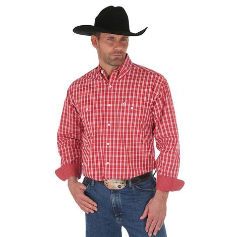 Wrangler Mens George Strait Red White Plaid Long Sleeve Shirt