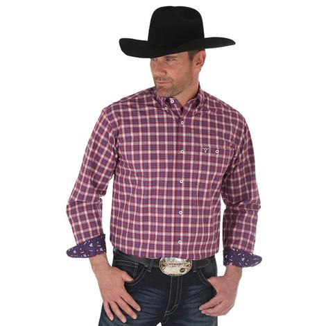 Wrangler Mens Burgundy Plaid Relaxed Fit Long Sleeve Shirt