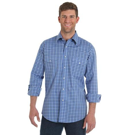 Wrangler Mens Blue Plaid Relaxed Fit Long Sleeve Shirt