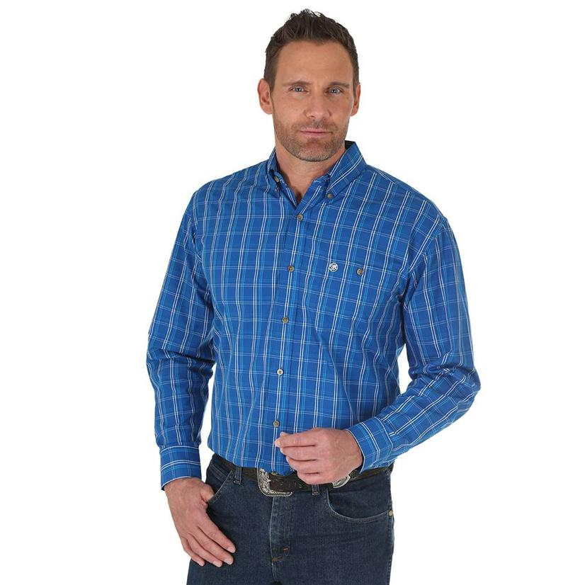 83d6b6fe71 Wrangler Mens Black Blue Plaid Long Sleeve Classic Fit Button Down Shirt