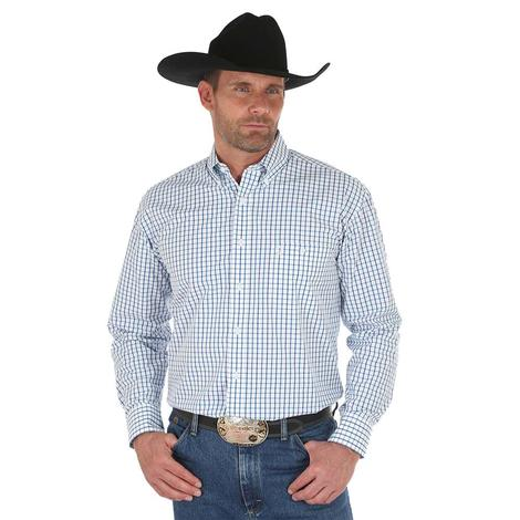Wrangler Mens George Strait Black White Long Sleeve Thin Plaid Shirt