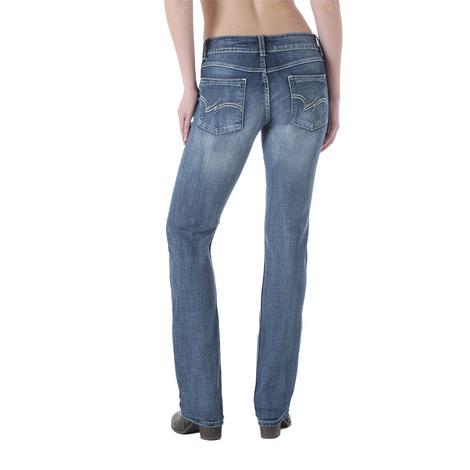 Wrangler Womens Mid Rise Straight Leg Jeans