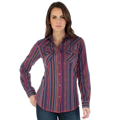 Wrangler Womens Red Serape Long Sleeve Snap Shirt