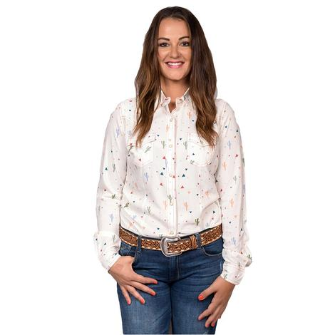 Wrangler Womens Cream Cactus Print Long Sleeve Shirt