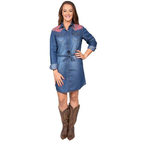 Wrangler Serape Denim Snap Dress