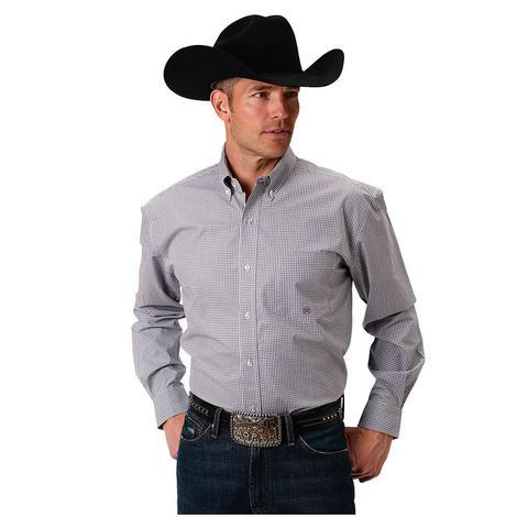Roper Mens Grey Gingham Long Sleeve Shirt